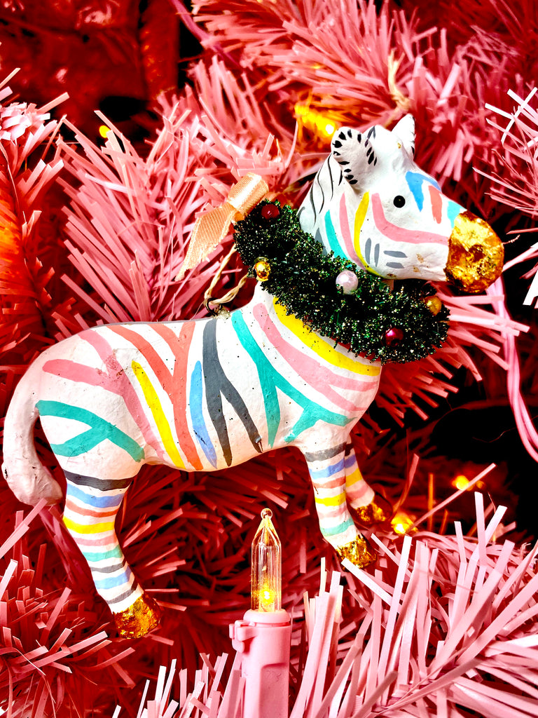 Pastel Zebra Ornament