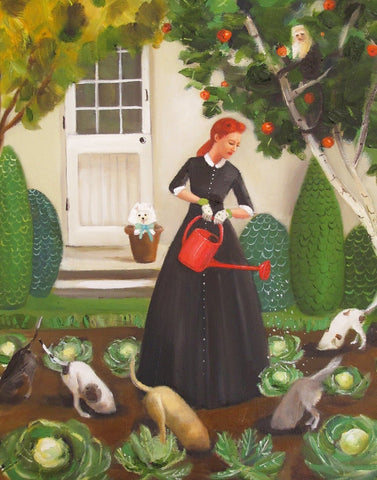 Miss Moon Was a Dog Governess : Lesson Eighteen - Janet Hill Studio Art Print