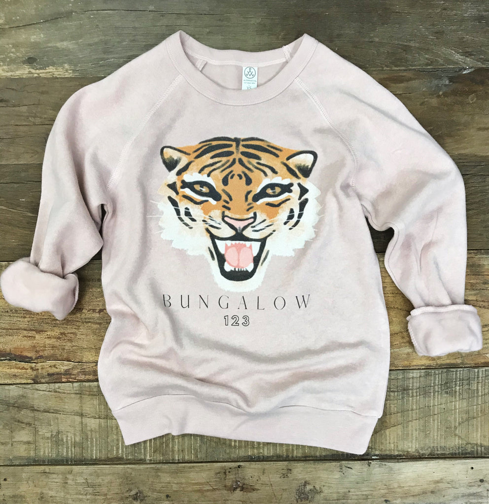 Bungalow 123 Blush Tiger Sweatshirt - Youth Sizes
