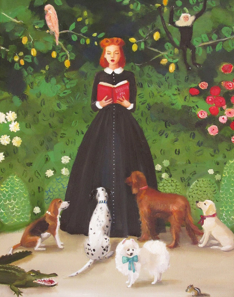 Miss Moon Was a Dog Governess - Lesson One - Janet Hill Studio Art Print