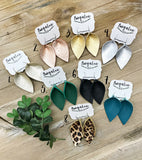 Leather Leaf Earrings - Asst. Colors