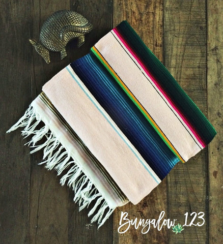 Baja Serape Blanket - Light Pink