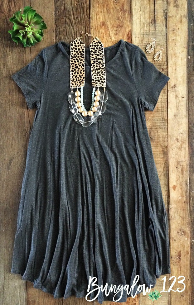 B123 Luxe Bamboo Tunic Dress - Charcoal - Bungalow 123 - 1
