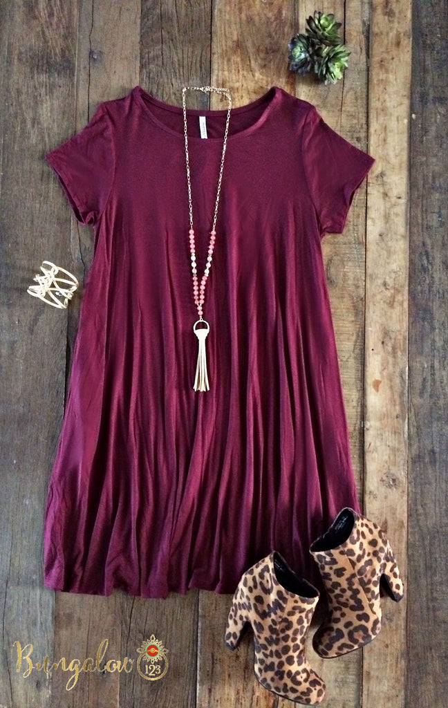 Carolina Dress - Burgundy - Bungalow 123 - 1