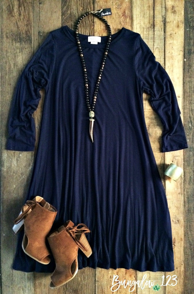 Carolina Dress - Navy (3/4-Sleeve) - Bungalow 123 - 1