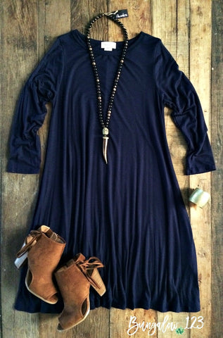 Carolina Dress - Navy (3/4-Sleeve)