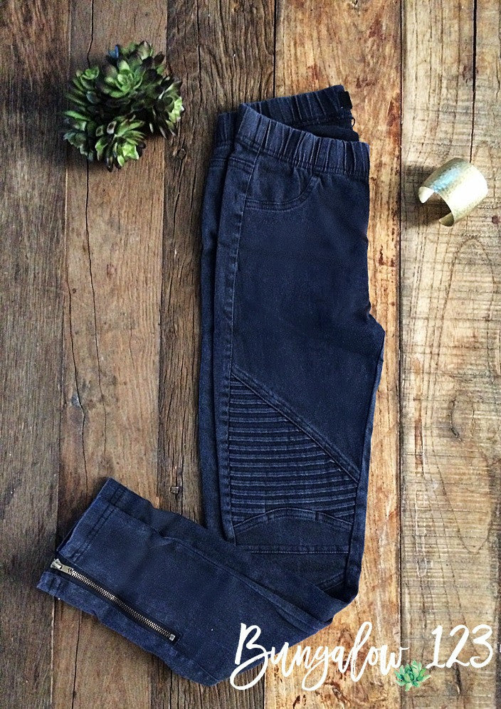 Danica Moto Jeggings - Vintage Navy - Bungalow 123 - 1