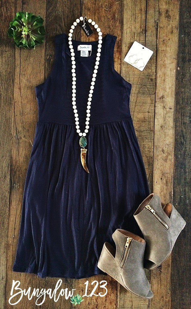 Carlyle Dress - Navy - Bungalow 123 - 1