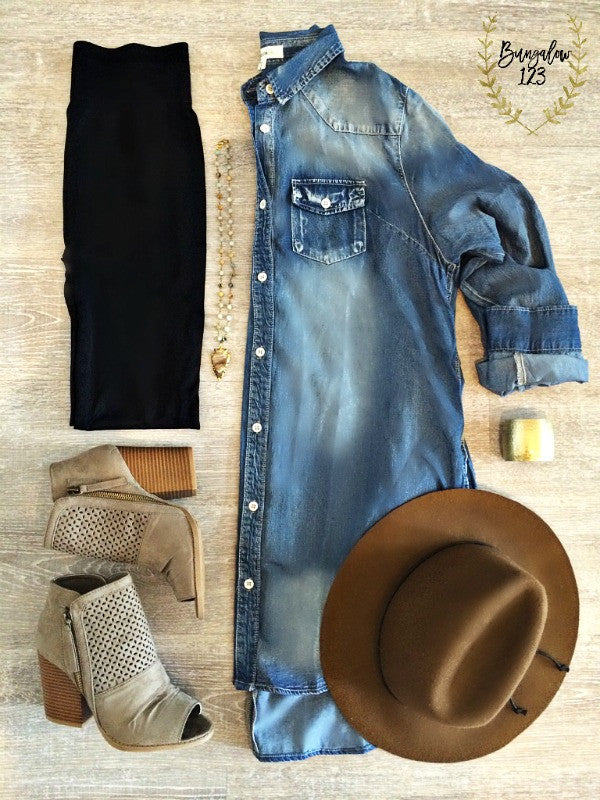 Keaton Denim Tunic Dress - Bungalow 123 - 1