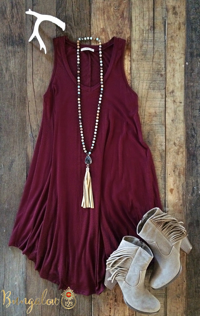 Shaw Dress - Burgundy - Bungalow 123 - 1