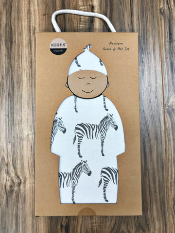 Milkbarn Baby Organic Newborn Gown & Hat Set - Multiple Styles