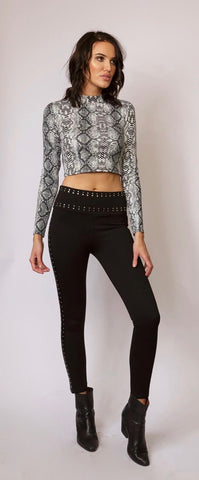 Crop top with snakeskin print and long sleeves