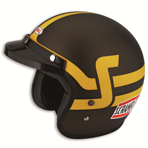 Ducati Scrambler Short Track Helmet - Brown/Yellow
