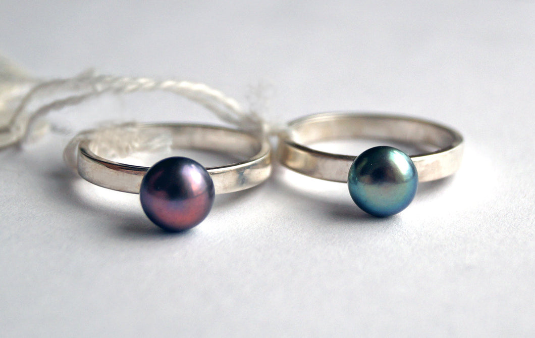 Handcrafted cultured pearl ring | MineovermatterDesigns
