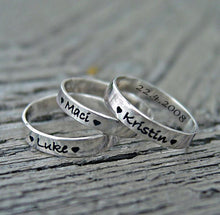 Load image into Gallery viewer, Personalized mother's child name stacking rings | Mineovermatter Designs