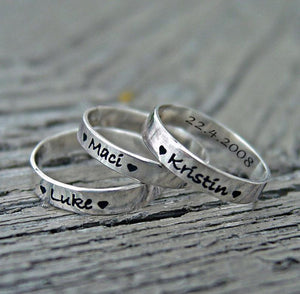Personalized mother's child name stacking rings | Mineovermatter Designs