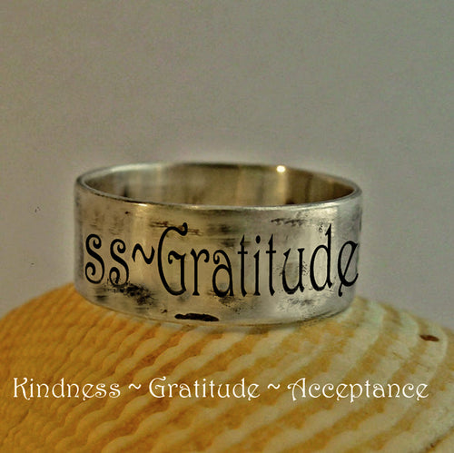 Kindness Acceptance Gratitude Ring, Personalized Quote jewelry | Mineovermatter Designs
