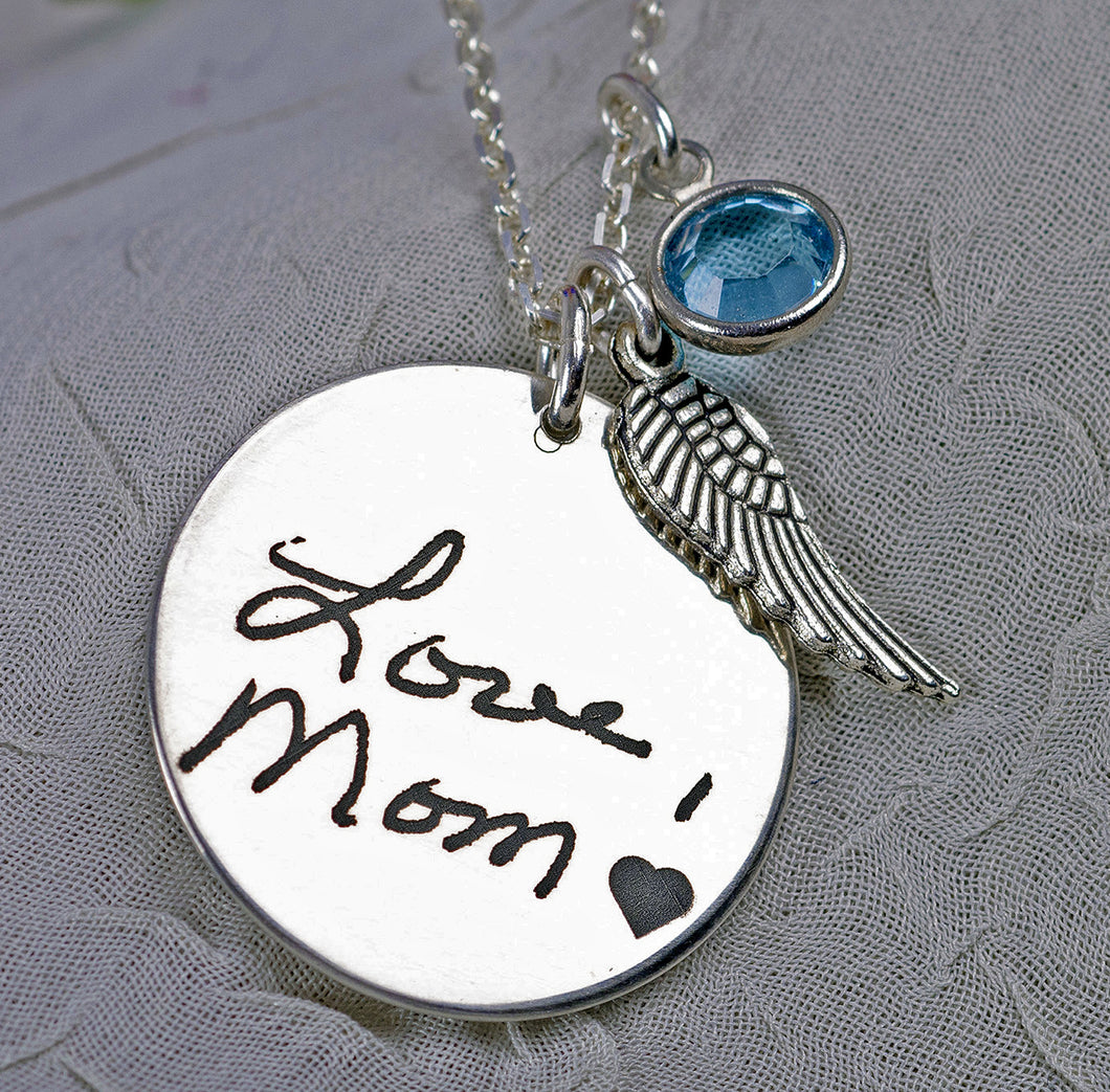 Custom engraved handwriting necklace | Mineovermatter Designs
