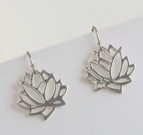 Lotus Flower Drop Earrings | Yoga Jewelry | Mineovermatter Designs