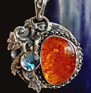 Amber sterling silver one of a kind necklace | Mineovermatter Designs