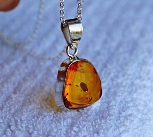 Large Amber Sterling Silver Necklace