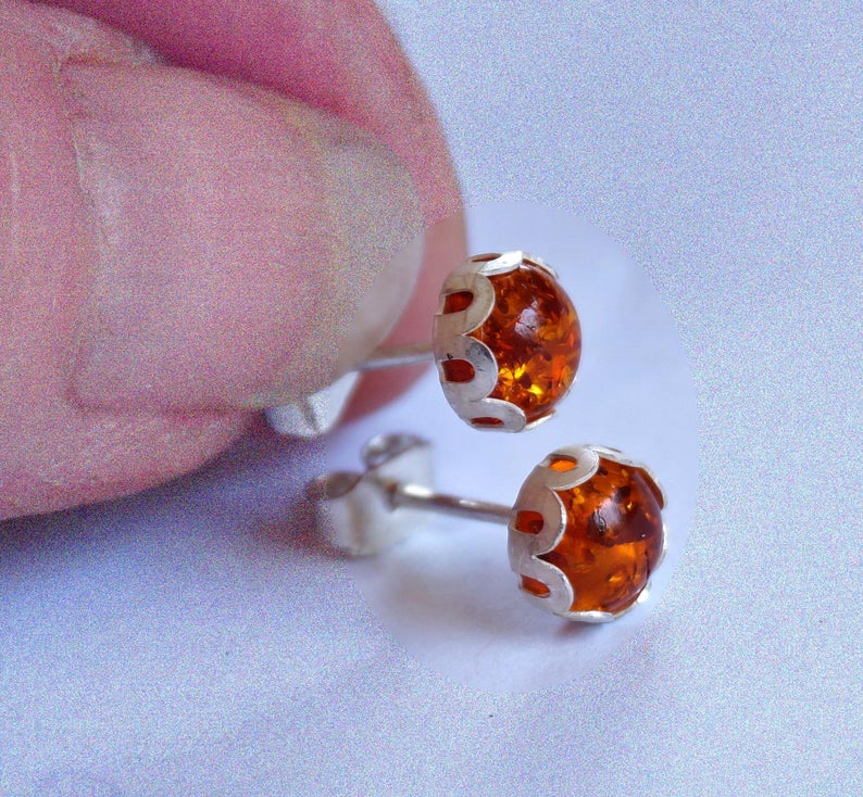 Amber stud earrings | Mineovermatter Designs