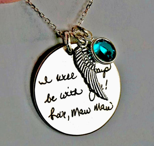 Angel Wing Personalized Necklace with birthstone | Mineovermatter Designs