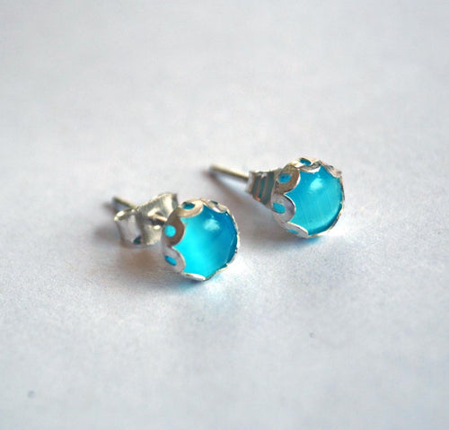 Blue Cat eye earrings | Mineovermatter Designs