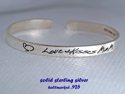 Personalized  bracelet, personalized handwriting cuff | Mineovermatter Designs