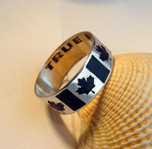 Load image into Gallery viewer, Canadian flag ring, Custom engraved Canada flag band | Mineovermatter Designs