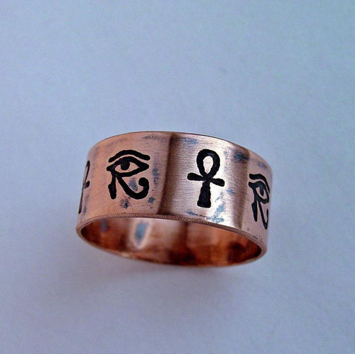 Egyptian Hieroglyph Ring, Eye Of Horus band | Mineovermatter Designs