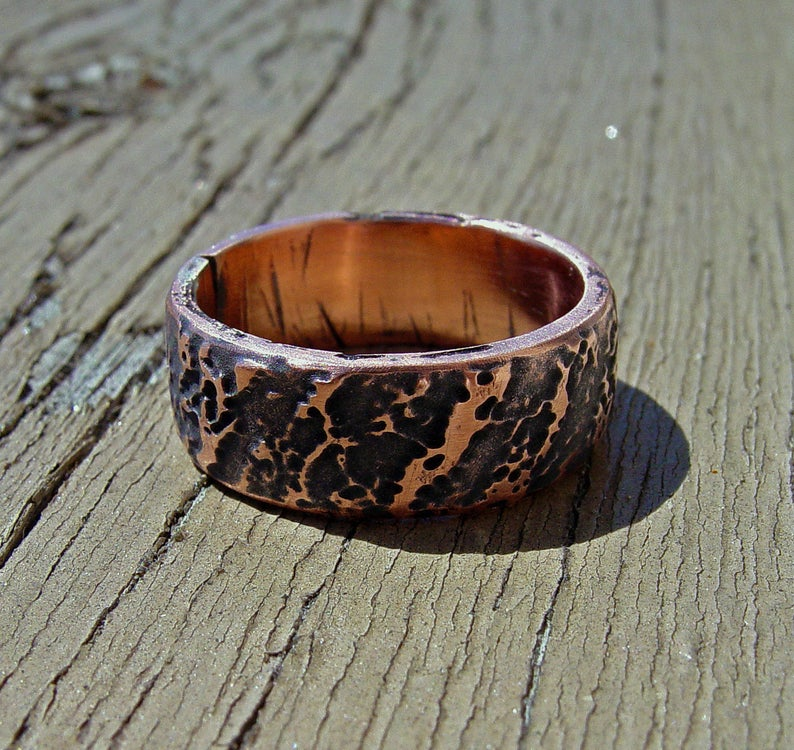 Copper wood ring, Tree Bark ring | Mineovermatter