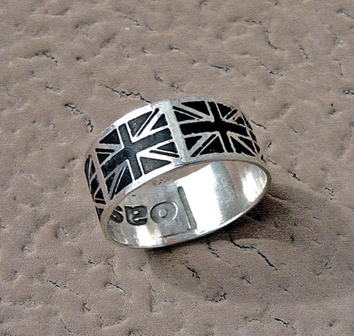 Personalized British Flag ring, Britain's patriotic flag band | Mineovermatter Designs