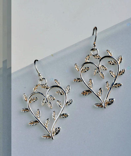 Heart earrings, heart leaf earrings