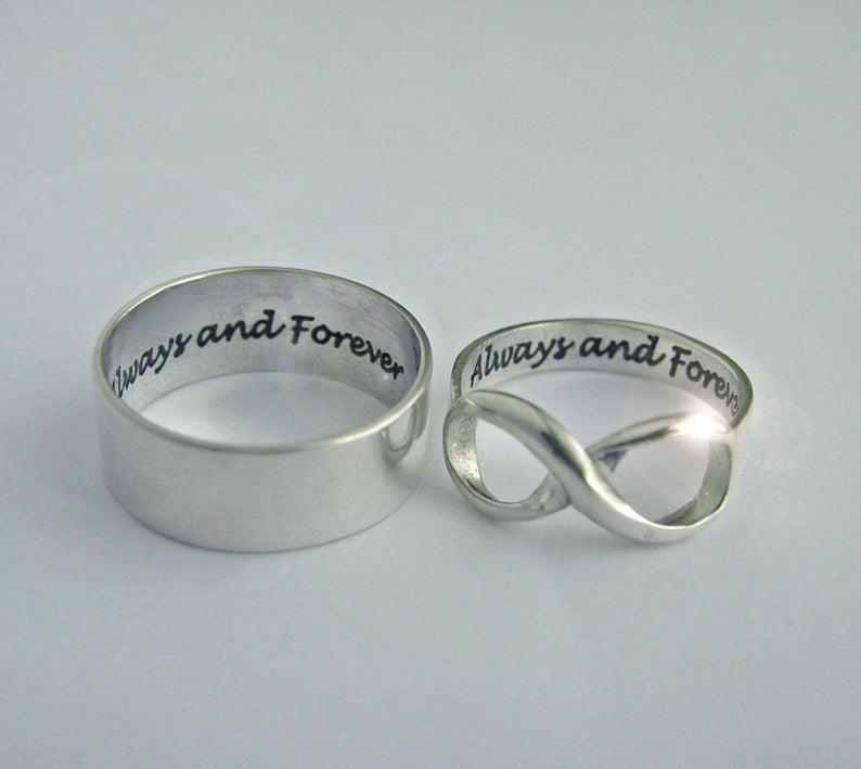 Couples Infinity rings, wedding engagement rings, 2 ring | Mineovermatter Designs