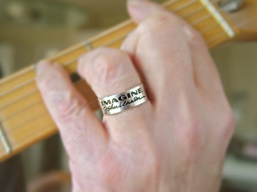 John Lennon Ring, Imagine Ring, personalized jewelry | Mineovermatter Designs