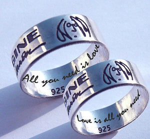 Couples rings, John Lennon, Imagine Ring | Mineovermatter Designs