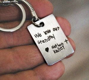 Personalized Handwriting key chain | Mineovermatter Designs