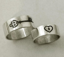 Load image into Gallery viewer, Custom Lock and Key couples wedding rings | Mineovermatter Designs