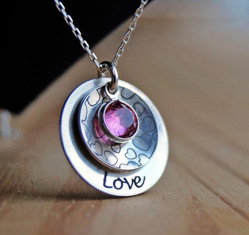 Love necklace, Round charm, heart charm