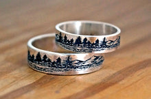 Load image into Gallery viewer, Mountains lakes jewelry, couples tree rings, set of rings for weddings | Mineovermatter Designs