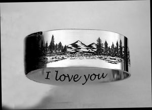 Mountains lakes jewelry, couples tree rings, set of rings for weddings | Mineovermatter Designs
