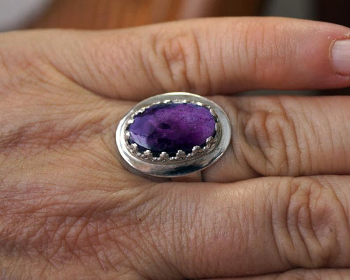 Handmade purple ring, Sugilate Gemstone ring | Mineovermatter Designs