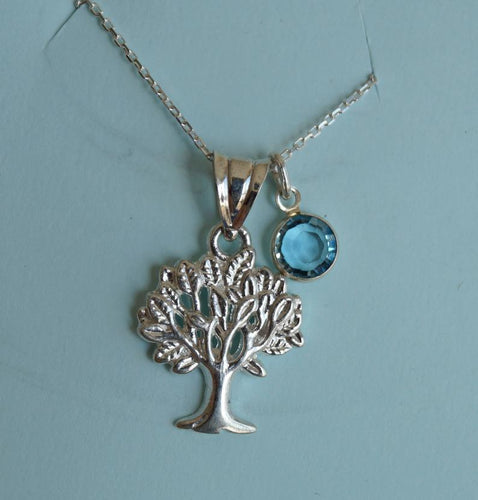 Tree charm necklace, sterling silver