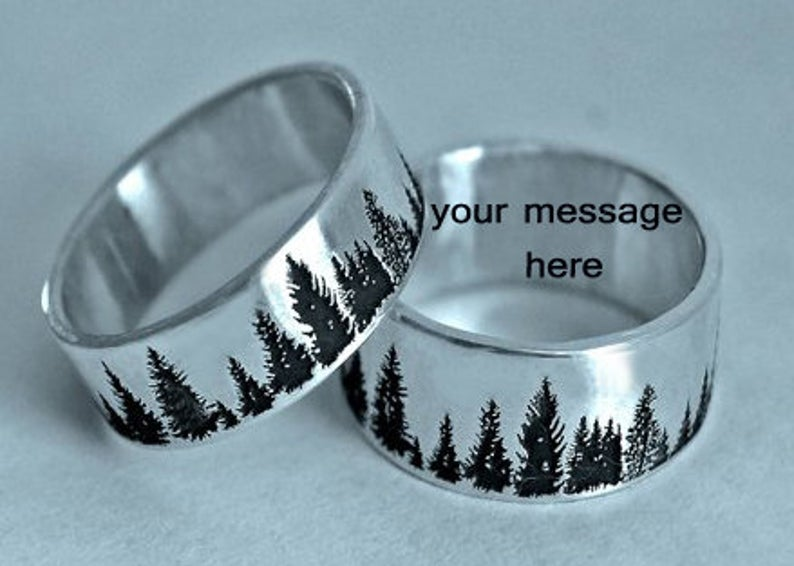 Personalized Tree Ring, wedding tree ring, pine tree jewelry