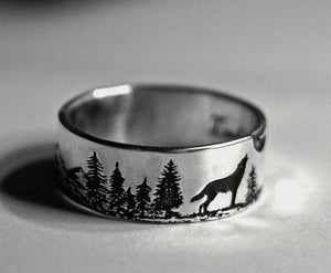Wolf ring for men for Father's Day Gift