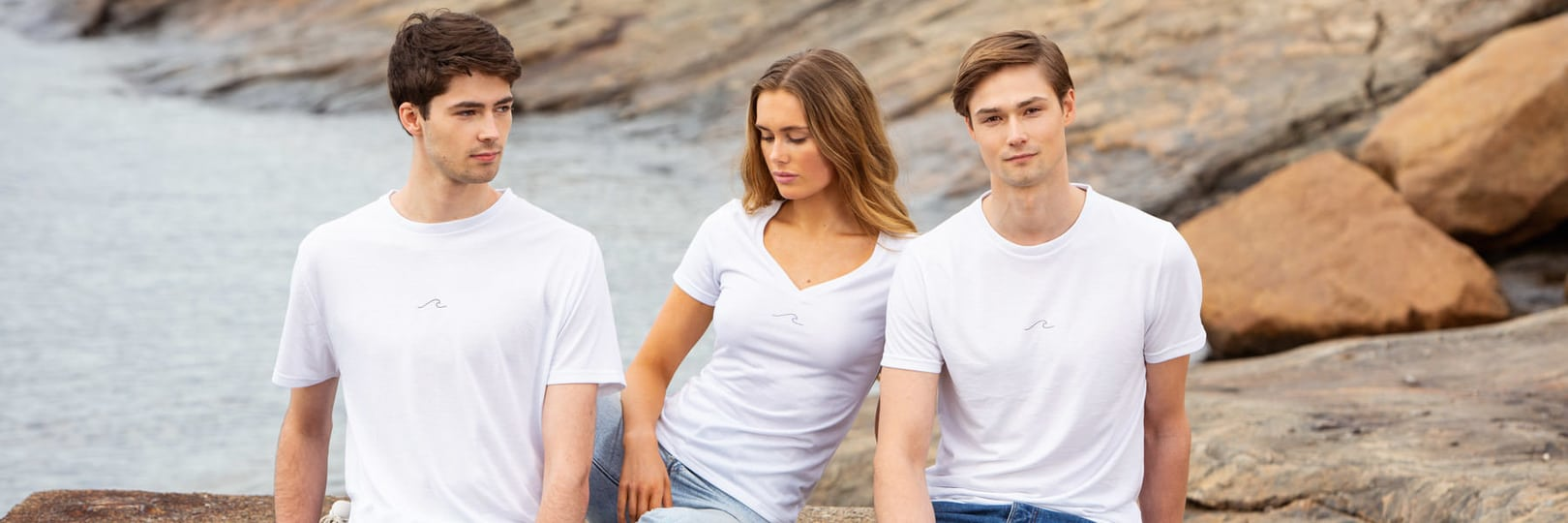 Woman and man in Eco Oceanness T-Shirt in Arctic White