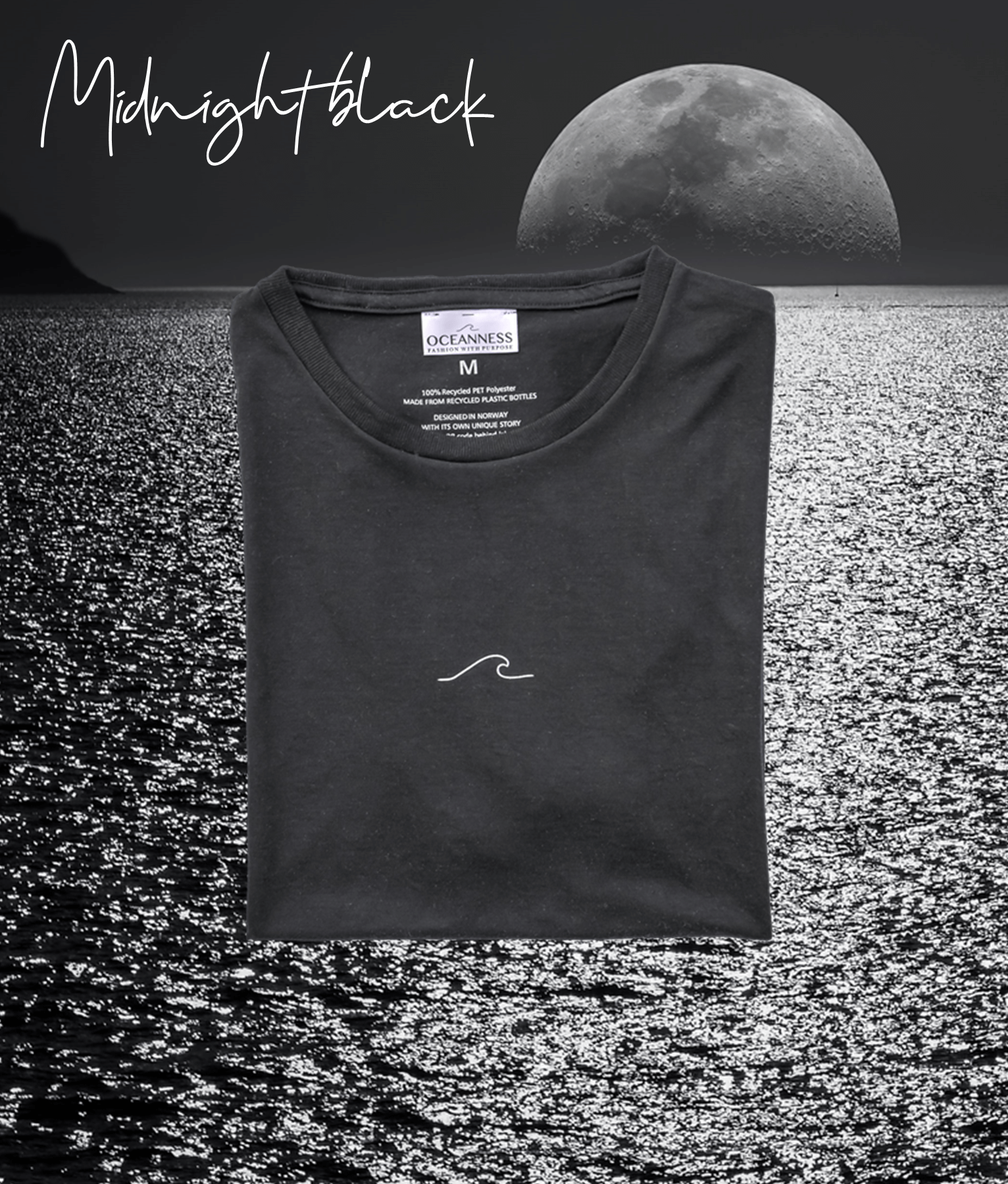 Midnight Black men's Oceanness t-shirt in front of moon and ocean by night
