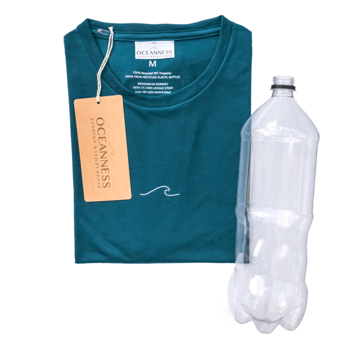 Eco-friendly Oceanness t-shirt in Ocean Green with recycled plastic bottle