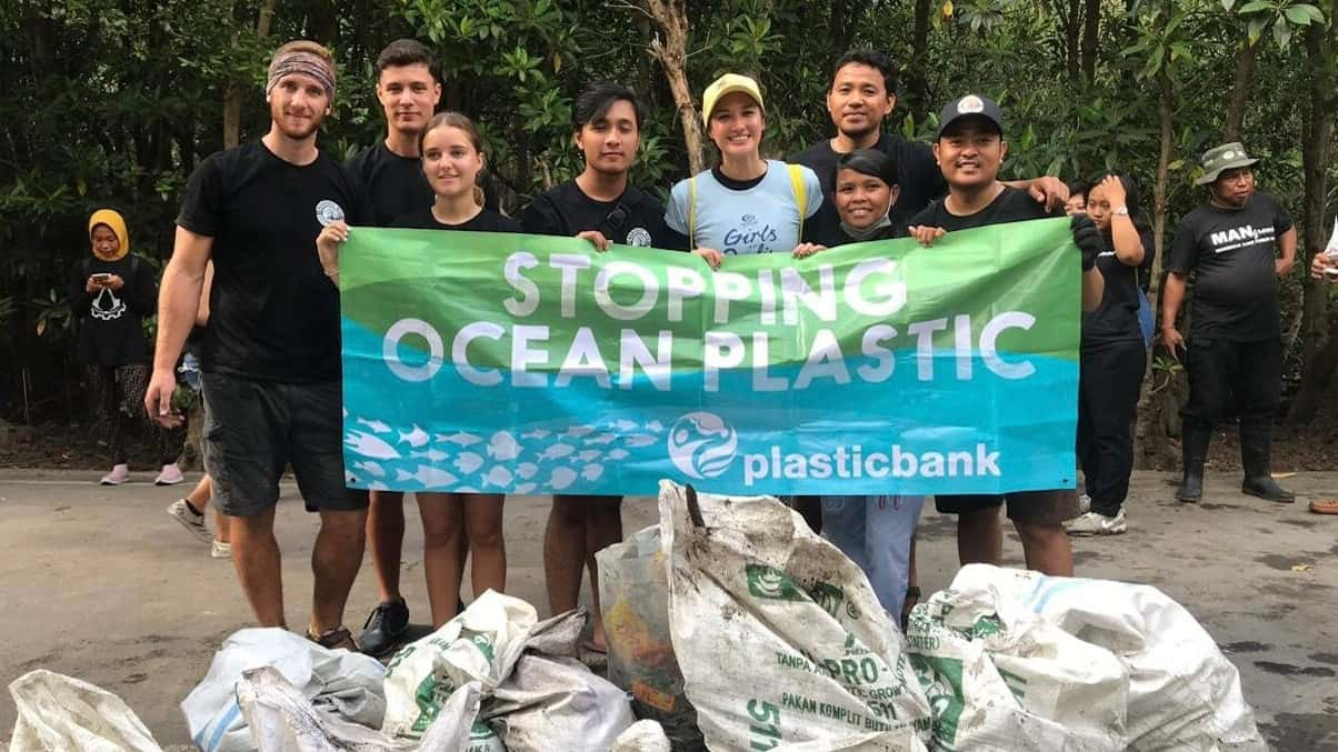 Oceanness plastic collectors doing a beach cleanup